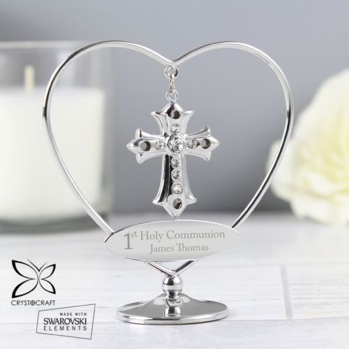Personalised 1st Holy Communion Crystocraft Cross Keepsake and Cake Topper